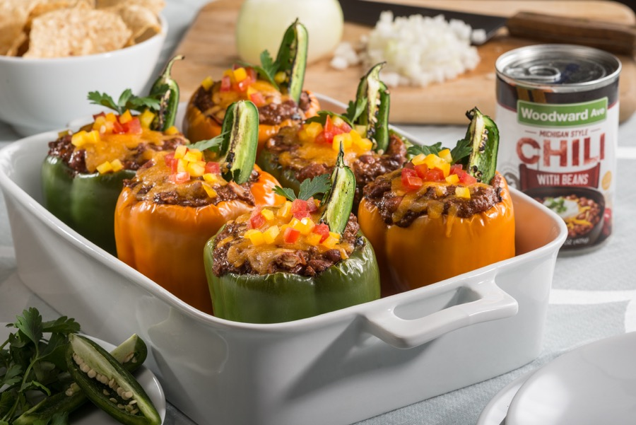 Chili Stuffed Bell Peppers