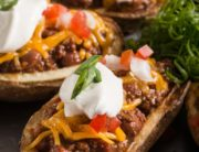 Chili Stuffed Potato Skins